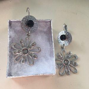 Jewelry - Silver toned I pierced earrings with rhinestones